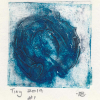 Tiny collagraph print 2019 series in shades of blue