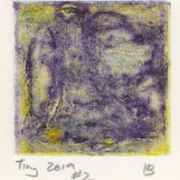Tiny collagraph print 2019 series in lemon yellow and violet