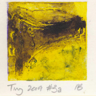 Tiny collagraph print 2019 series in cadmium yellow and brown