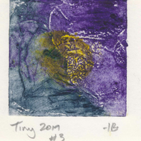 Tiny collagraph print 2019 series in grey, yellow and purple