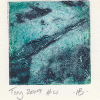 Tiny collagraph print 2019 series in blue and grey.