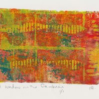 A window on the Cambrian - monoprint made with acrylics on paper