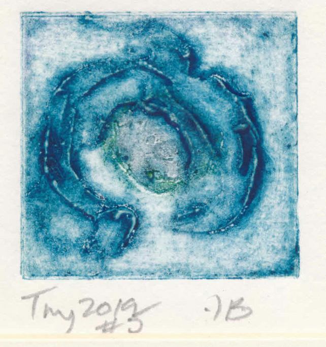 Tiny collagraph print 2019 series - no 5 in blues