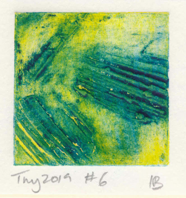 Tiny art - miniature collagraph print 2019 series - no 6 in green and yellow