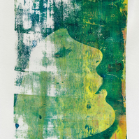 Dreaming - monoprint made with acrylics on paper