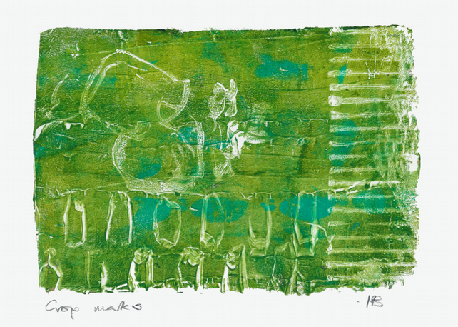 Crop marks - monoprint made with acrylics on paper