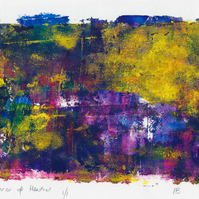 Gorse and heather  - monoprint made with acrylics on paper