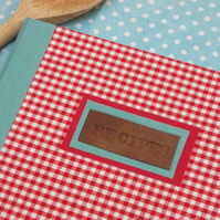 vintage style hand-bound gingham recipe journal - PERSONALISE IT!