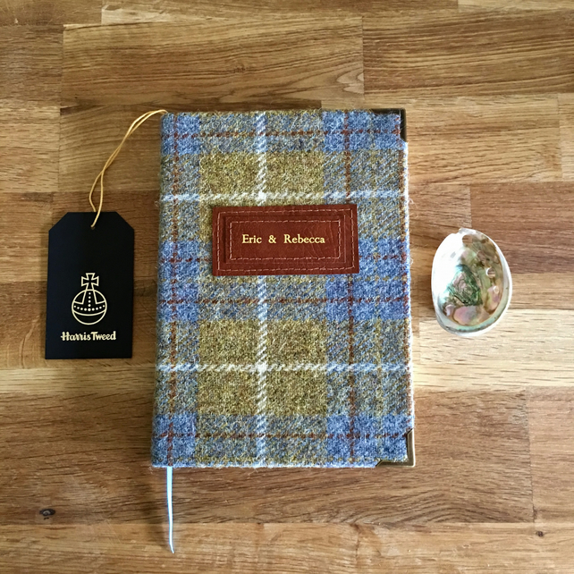 a5 mustard tweed journal - lined pages - personalise it!