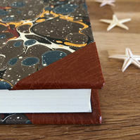 lined a5 marble & leather journal
