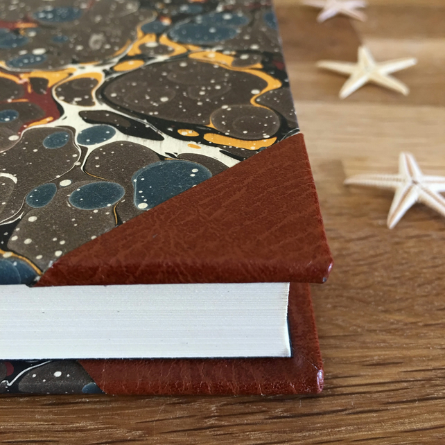 marble & leather journal - blue & brown bubble - a5 blank