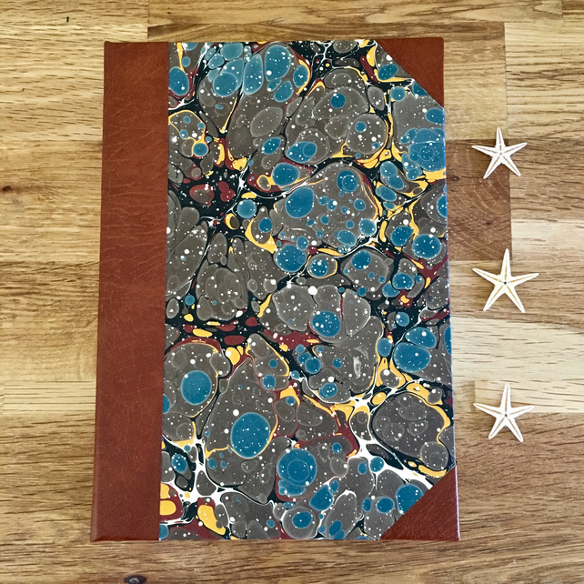 marble & leather journal - a6 - blue & brown bubble marble & tan leather