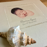 personalised linen baby album with your baby's photo on cover - large 1