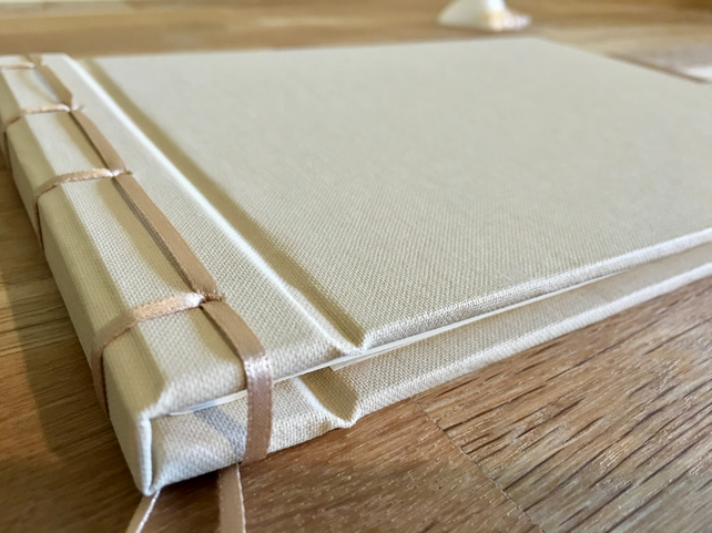 ribbon-bound ivory guest book - a4 landscape