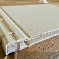 ribbon-bound ivory guest book - 30cm square
