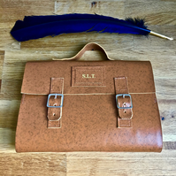 leather satchel journal holdall - a5 - personalise it! - reusable!