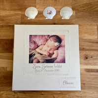 large personalised linen baby album