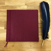maroon silk ribbon-bound guest book - 21cm
