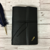 large leather wraparound quill journal - black - personalised