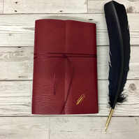 small leather wraparound quill journal - red