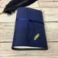 medium leather wraparound quill journal - blue - personalised