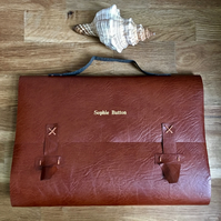 large personalised leather satchel journal