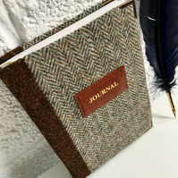 two-tone Harris Tweed journal - a5 lined - personalise it!