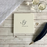 monogrammed wedding guest book