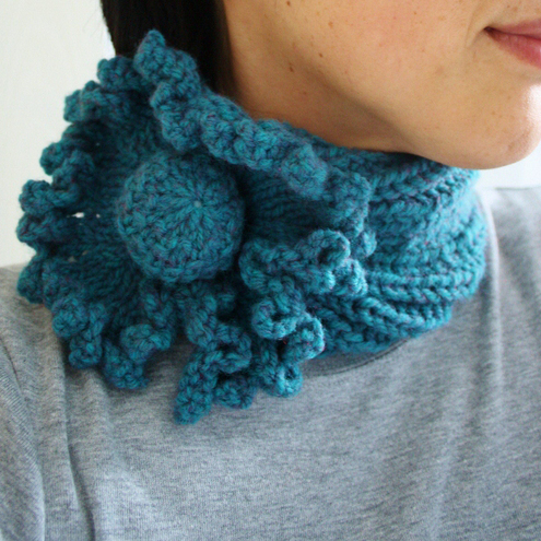Ladies Flower Neck Warmer in Deep Teal Green