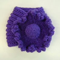 Ladies Flower Neck Warmer in Violet