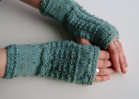 Fingerless Gloves Mittens Wrist Warmers in Duck Egg Blue Aran Wool