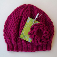 Beanie Hat in Dark Pink With Detachable Flower Brooch Hand Knitted