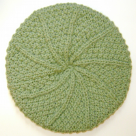 Beanie Hat in Sage Green Aran Wool