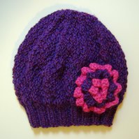 Girls Beanie Hat in Purple Mix and Strawberry Pink Size Small 2 to 4 years