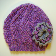 Girls Beanie Hat In Lilac Mix And Grey Size Med Folksy