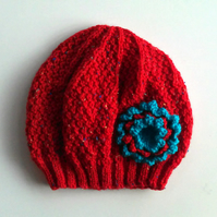 Girls Beanie Flower Hat in Red & Turquoise - Size Medium 5 to 10 years