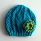 Girls Beanie Flower Hat in Turquoise & Green - Size Medium 5 to 10 years