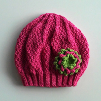Girls Beanie Flower Hat in Strawberry Pink & Green - Size Medium 5 to 10 years