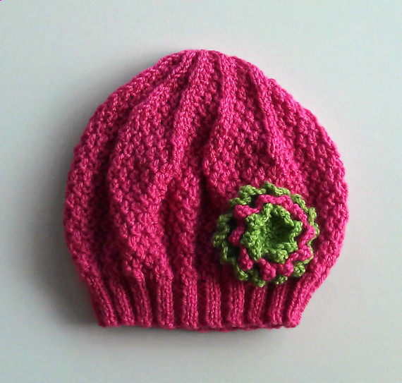 Girls Beanie Flower Hat in Strawberry Pink and Green - Size Small 2 to 4 years