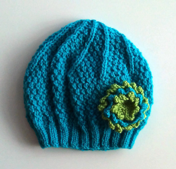 Girls Beanie Flower Hat in Turquoise and Green  Size Small 2 to 4 years