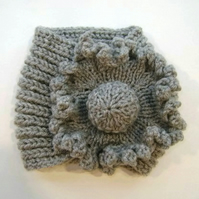 Ladies Flower Neck Warmer in Grey Aran Wool