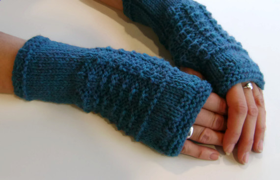 Fingerless Gloves Mittens Wrist Warmers in Deep Teal Green Aran Wool