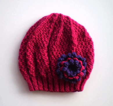 Girls Beanie Flower Hat in Dark Pink & Purple - Size Small 2 to 4 years
