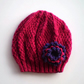 Girls Beanie Flower Hat in Dark Pink & Purple - Size Medium 5 to 10 years