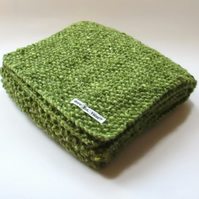 Scarf in Green Aran Tweed Wool