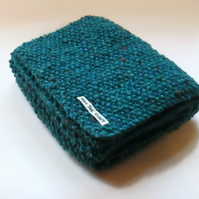 Scarf in Turquoise Aran Tweed Wool