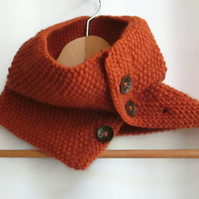 Cowl in Burnt Orange Aran Wool