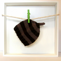 Baby Hat in Dark Brown & Light Brown Stripes Size 0 - 2 Months