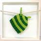 Baby Hat in Dark Green & Lime Green Stripes Size 0 - 2 Months