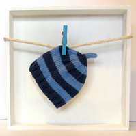 Baby Hat in Navy Blue & Sky Blue Stripes Size 0 - 2 Months